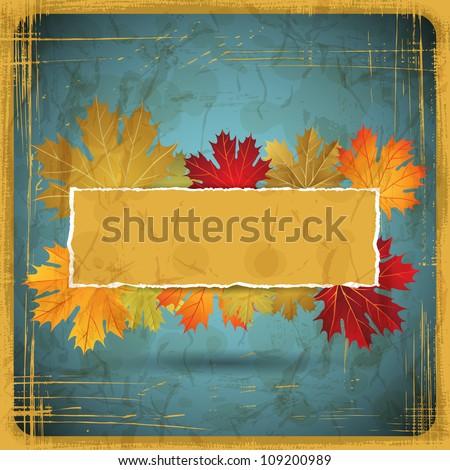 EPS10 Autumn leaves grunge background. Vector illustration. - stock vector