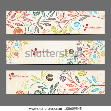 eps10, banner with floral pattern - stock vector