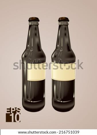 EPS 10 Black Beer glass bottles vector realistic illustration for label designs - stock vector