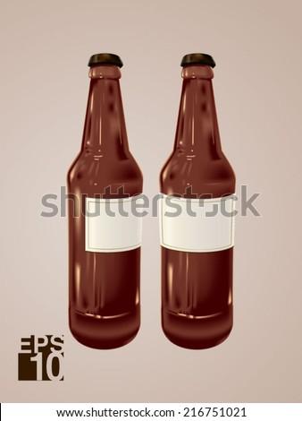 EPS 10 Brown Beer glass bottles vector realistic illustration for label designs - stock vector
