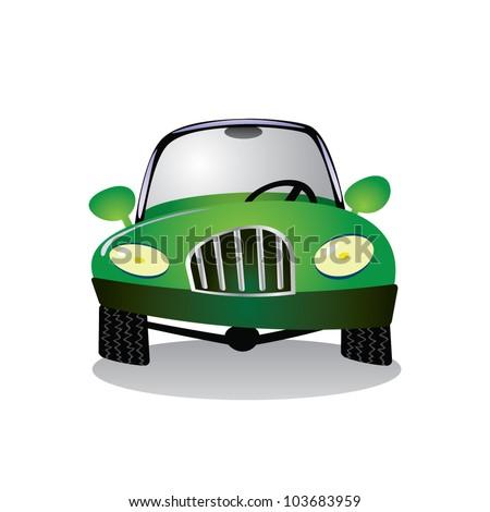 eps10 cartoon green car - illustration - stock vector
