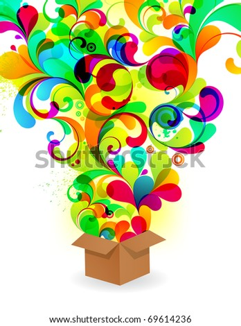 EPS10. Colorful explosion from box. - stock vector
