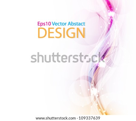 Eps10 Colorful Stylish Wave Design with Elegant Glows - stock vector