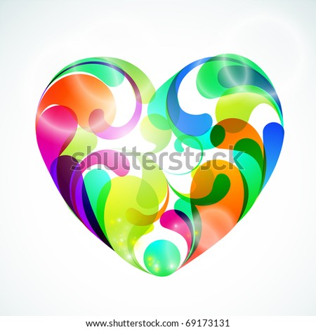 EPS10. Colorful vector heart illustration for your design idea. - stock vector