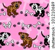EPS 10: Cute and fun cartoon dogs with paw prints and bones over girly pink that can be used as borders or full wallpaper pattern, perfect for pet related articles. - stock photo