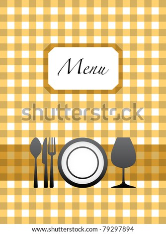 eps10 cutlery, glass and plate on menu card design - stock vector