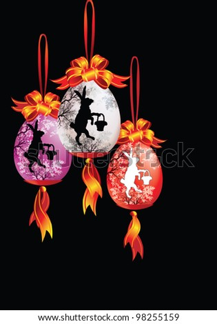 EPS10/ Easter decorations on a black background - stock vector
