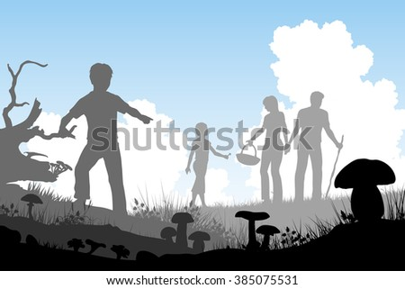 EPS8 editable vector cutout illustration of a family hunting for edible mushrooms with people and fungi as separate objects - stock vector