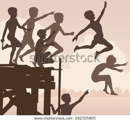 EPS8 editable vector cutout illustration of children jumping off a wooden jetty - stock vector