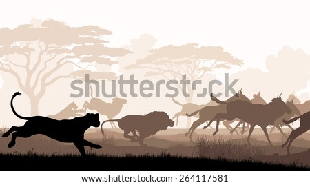 EPS8 editable vector cutout illustration of lions chasing a herd of wildebeest with all figures as separate objects - stock vector