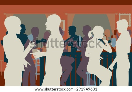 EPS8 editable vector cutout illustration of people drinking in a busy bar - stock vector