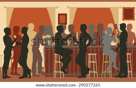 EPS8 editable vector cutout illustration of people drinking in a busy bar in the evening - stock vector