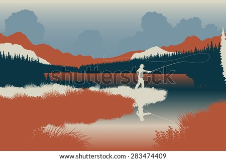 EPS8 editable vector illustration of an angler in a wild landscape with the man as a separate object - stock vector