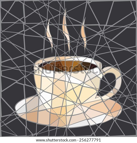 EPS8 editable vector mosaic illustration of a cup of steaming coffee - stock vector