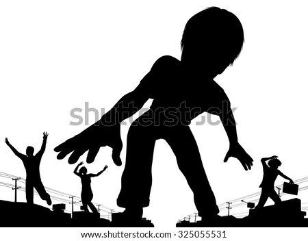 EPS8 editable vector silhouette of a giant boy terrorizing adult people in a town with all figures as separate objects