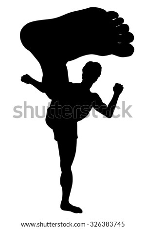 EPS8 editable vector silhouette of a man doing a karate kick with wide-angle perspective - stock vector