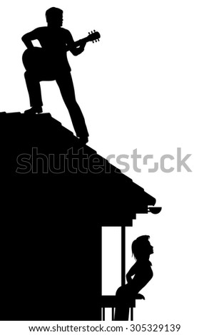 EPS8 editable vector silhouette of a man serenading a woman by playing guitar on a roof with figures as separate objects - stock vector