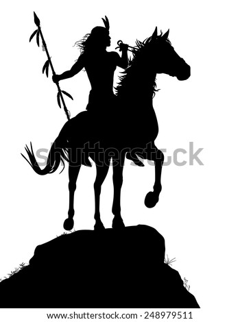 EPS8 editable vector silhouette of a native American Indian warrior riding a horse with figures as separate objects - stock vector