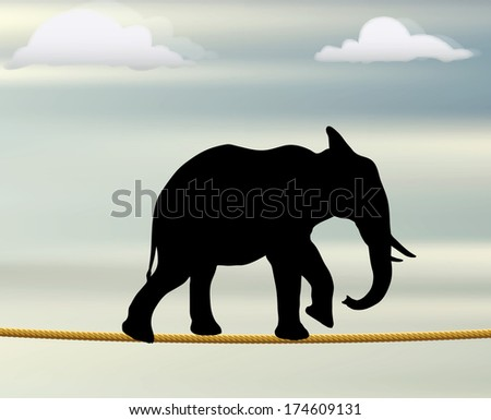 Eps 10 editable vector silhouette of African elephant on a rope in the air - stock vector