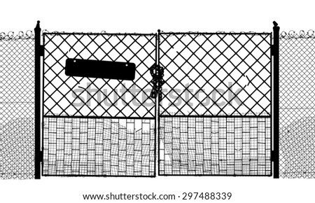 EPS8 editable vector silhouette of an old security gate with sign, lock and two sides of gate as separate objects - stock vector