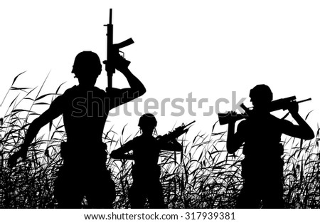 EPS8 editable vector silhouette of soldiers on patrol in a reedswamp - stock vector