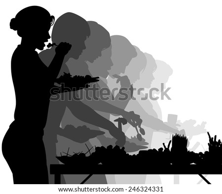 EPS8 editable vector silhouettes of people enjoying a buffet table - stock vector