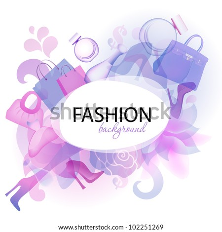 eps10 fantasy background with colored shoes, flowers, perfume and bags - stock vector