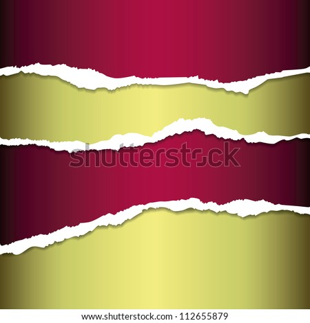 EPS10 file. Golden and red tear paper - stock vector