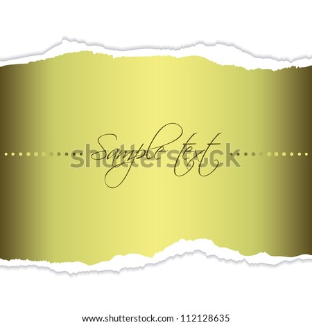 Eps10 file. Golden tear paper with blank space to write your own text - stock vector