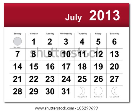 EPS10 file. July 2013 calendar. The EPS file includes the version in blue, green and black in different layers - stock vector