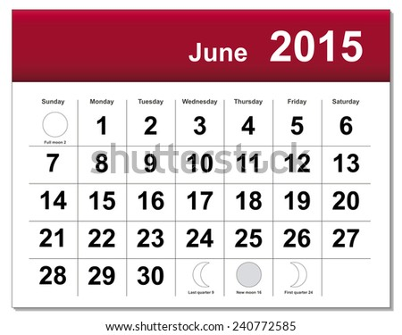 EPS10 file. June 2015 calendar. The EPS file includes the version in blue, green and black in different layers - stock vector