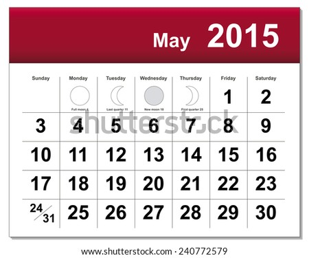 EPS10 file. May 2015 calendar. The EPS file includes the version in blue, green and black in different layers - stock vector
