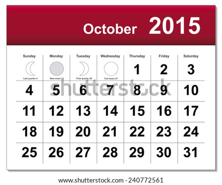 EPS10 file. October 2015 calendar. The EPS file includes the version in blue, green and black in different layers - stock vector