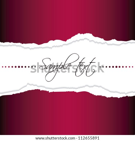 Eps10 file. Red tear paper with blank space to write your own text - stock vector