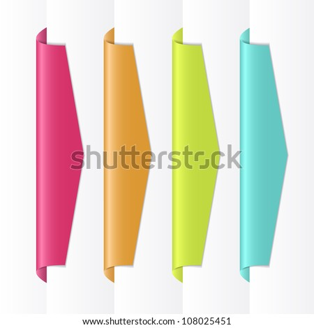 EPS10 file. Vector colorful labels on the edge of the page - stock vector