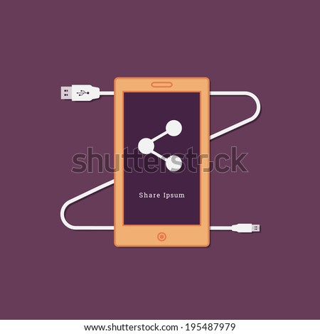 EPS10 flat UI usb cable and plug illustration with smart phone for web design, banner, background - orange, purple version - stock vector