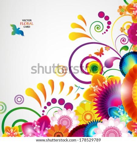 Eps10 Floral design background. - stock vector