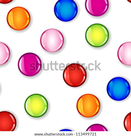 EPS 10: Fun seamless pattern made of glossy circles or bubbles in pale and dark pink, red, blue, lime green and orange, all with shadows over white background.
