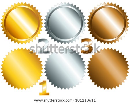 EPS 10: Gold, silver and bronze games related set of rosette medal or label with related numbers in metallic colors - stock vector