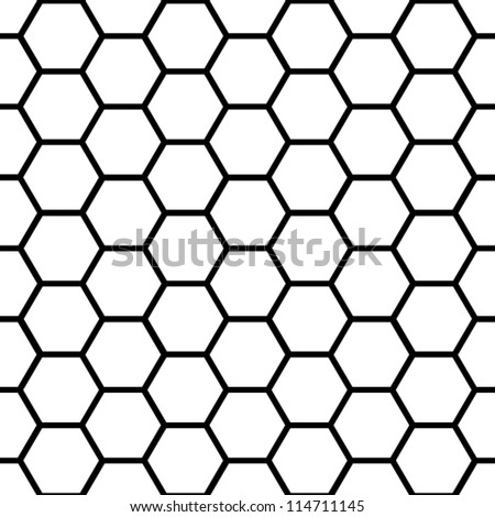 EPS 10: Graphic seamless pattern made of black honeycomb pattern over white. - stock vector