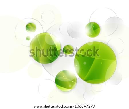 Eps10 Green Circles Background Concept Design - stock vector