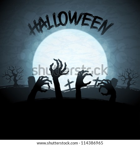 EPS 10 Halloween background with zombies and the moon. - stock vector