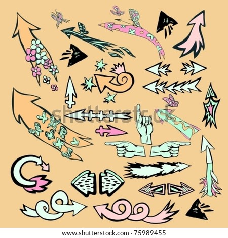 EPS 10, Hand-drawn  colorful vector, funny, cartoon arrows set with flowers and butterflies for decoration and design (big collection) - stock vector
