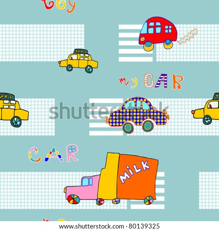 EPS 10, Hand-drawn seamless  pattern with cars for baby - stock vector