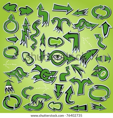 EPS10, Hand-drawn vector green arrows icon set for design (stickers big collection) - stock vector