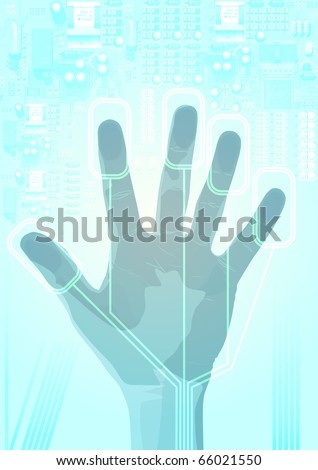 eps10 hand pressed against glass - stock vector