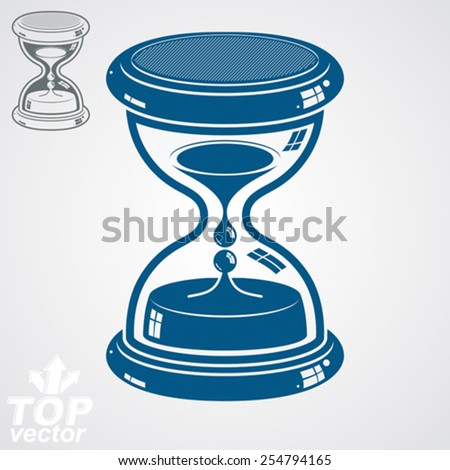 Eps8 high quality dimensional vector sand-glass, includes additional version. Antique decorative liquid 3d hourglass. Vintage clock with water drops. Time conceptual stylized icon. - stock vector