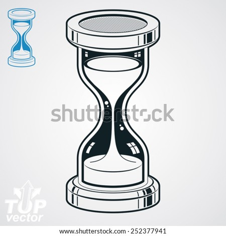 Eps8 highly detailed vector sand-glass illustration, includes additional version. Antique classic hourglass. Retro clock silhouette. - stock vector