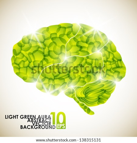 eps10, human brain, light green aura, vector abstract background - stock vector