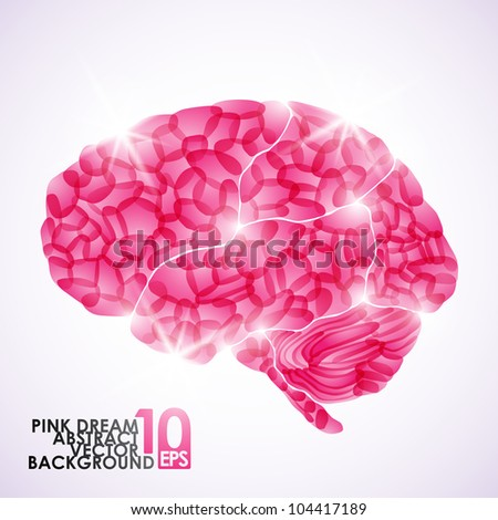 eps10, human brain, pink dream, vector abstract background - stock vector